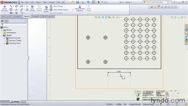 Adding center marks and centerlines to a drawing: SOLIDWORKS 2012 Essential Training