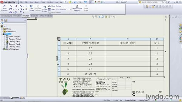Including a bill of materials: SOLIDWORKS 2012 Essential Training