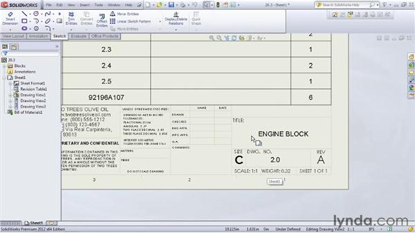 Adding a title block and sheet properties to an assembly drawing: SOLIDWORKS 2012 Essential Training