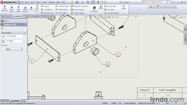 Including part balloons in an assembly drawing: SOLIDWORKS 2012 Essential Training