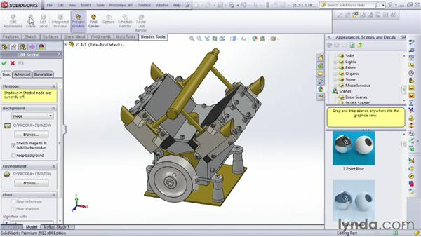 Rendering an image of a part or an assembly: SOLIDWORKS 2012 Essential Training