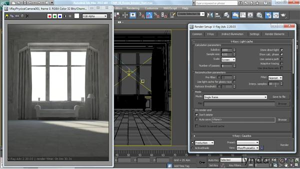 Using light cache: V-Ray 2.0 for 3ds Max Essential Training