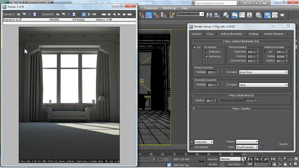 Using brute force GI: V-Ray 2.0 for 3ds Max Essential Training