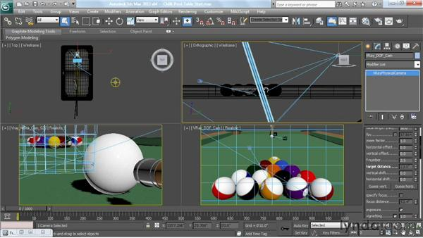 Depth of field: VRayPhysicalCamera: V-Ray 2.0 for 3ds Max Essential Training