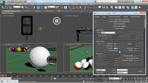 Depth of field: using a perspective viewport: V-Ray 2.0 for 3ds Max Essential Training