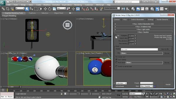 Generating caustic effects: V-Ray 2.0 for 3ds Max Essential Training
