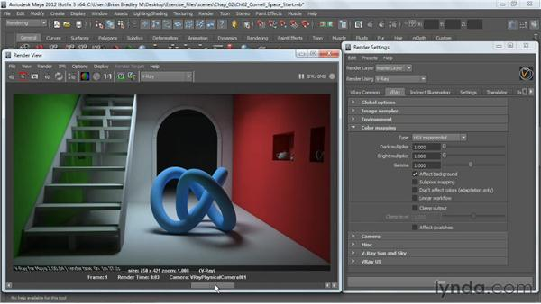Understanding the color-mapping modes: V-Ray 2.0 for Maya Essential Training