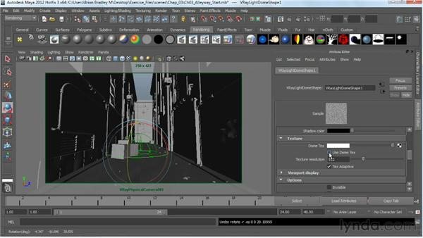 Working with the dome light: V-Ray 2.0 for Maya Essential Training
