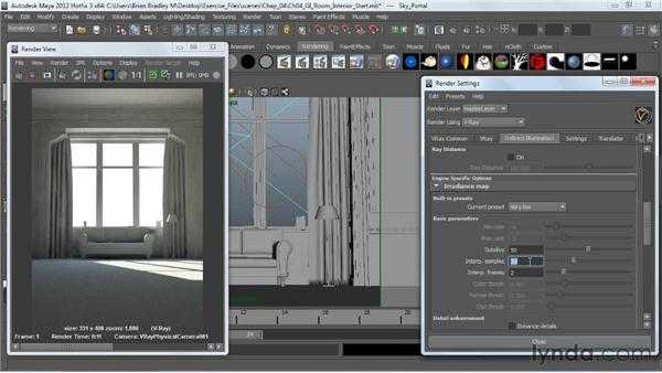 Using irradiance mapping, part 2: V-Ray 2.0 for Maya Essential Training