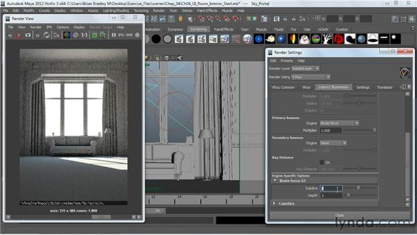 Using brute force GI: V-Ray 2.0 for Maya Essential Training