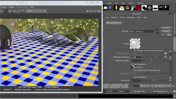 Blurring reflections: V-Ray 2.0 for Maya Essential Training