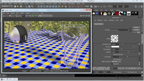 Making clear and colored glass: V-Ray 2.0 for Maya Essential Training