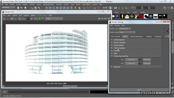 Working with VRaySun and VRaySky: V-Ray 2.0 for Maya Essential Training