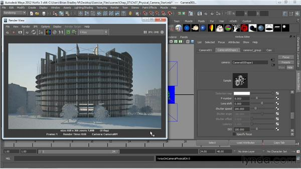 Controlling the VRayPhysicalCamera: V-Ray 2.0 for Maya Essential Training