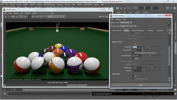 Depth of field: perspective viewport: V-Ray 2.0 for Maya Essential Training