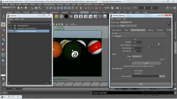 Generating caustic effects: V-Ray 2.0 for Maya Essential Training