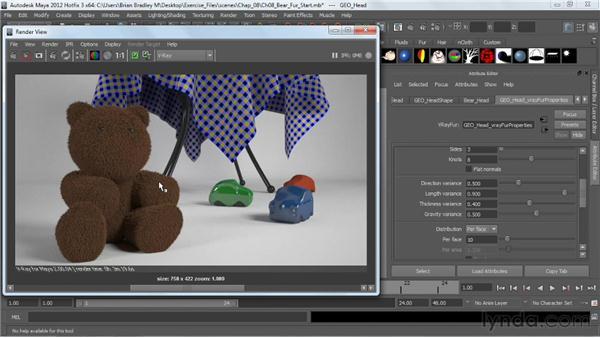 Using VRayFur: V-Ray 2.0 for Maya Essential Training