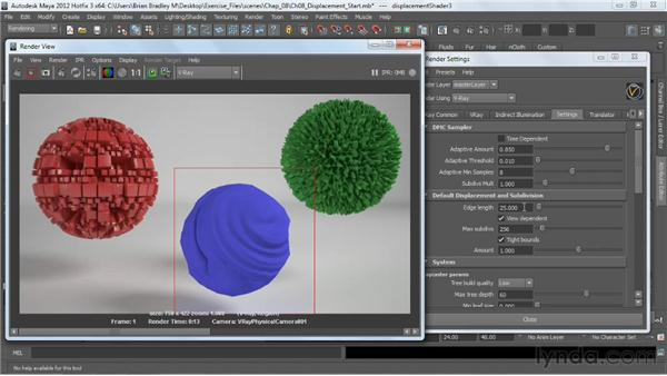 Setting up render-time displacement effects: V-Ray 2.0 for Maya Essential Training