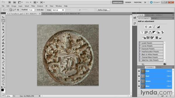 Transforming a selection: Practical Photoshop CS5 Selections