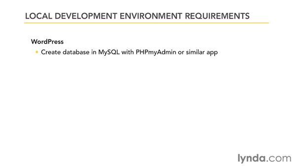 Development environment requirements: Dreamweaver and WordPress: Building Themes