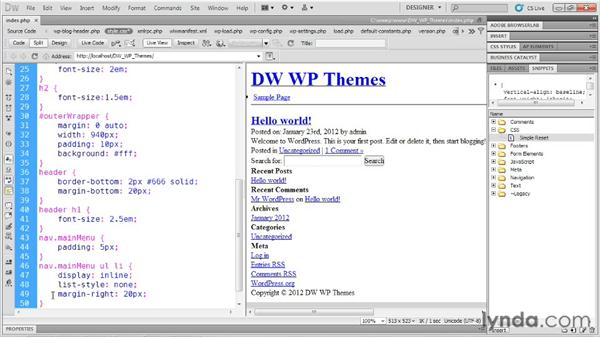 Building up the CSS: Dreamweaver and WordPress: Building Themes