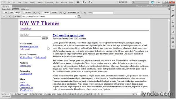 Testing the theme: Dreamweaver and WordPress: Building Themes