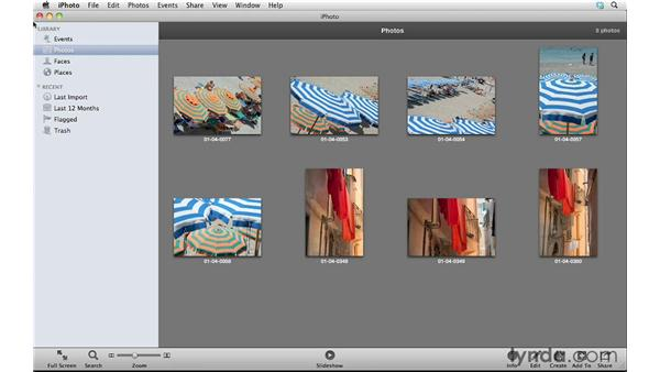 Importing photos from an iPhoto library: Photoshop Elements 10 Essential Training