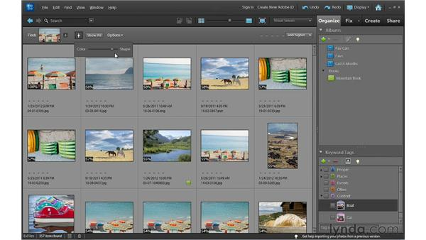 Finding photos that are visually similar to each other: Photoshop Elements 10 Essential Training