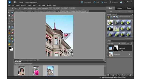 Fixing red-eye, improving skies, and touching up photos: Photoshop Elements 10 Essential Training