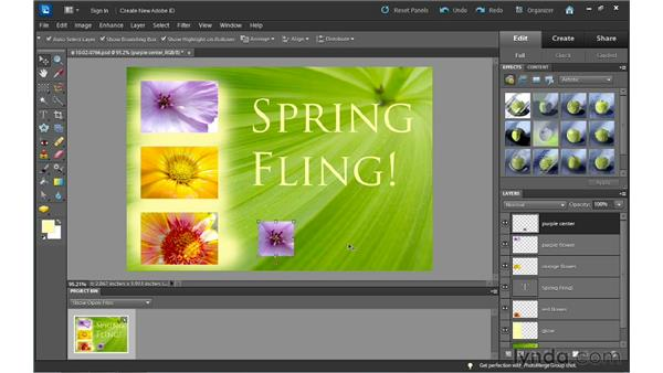 Managing layers in the Layers panel: Photoshop Elements 10 Essential Training