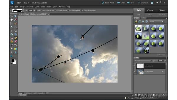 Using the Content-Aware option in the Spot Healing Brush to remove content: Photoshop Elements 10 Essential Training