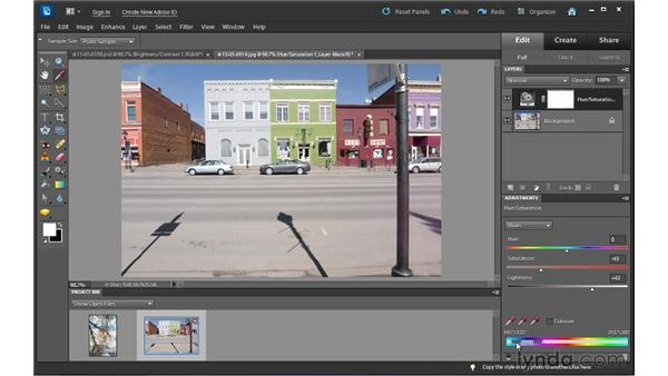 Enhancing color with Hue/Saturation: Photoshop Elements 10 Essential Training