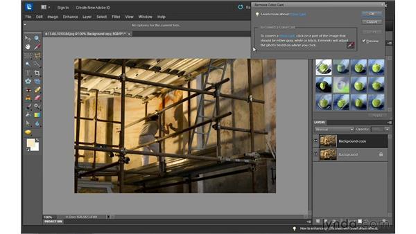 Removing a color cast: Photoshop Elements 10 Essential Training
