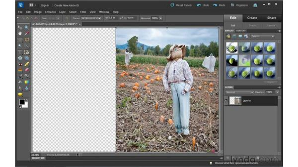 Changing a photos orientation using the Recompose tool: Photoshop Elements 10 Essential Training
