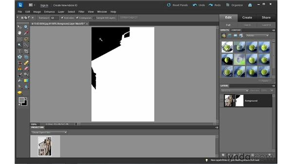 Using a layer mask to hide a background: Photoshop Elements 10 Essential Training