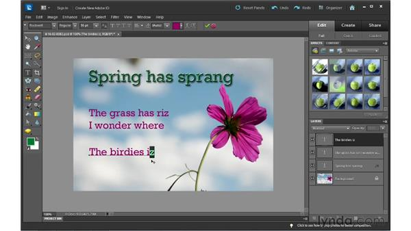 Editing text: Photoshop Elements 10 Essential Training