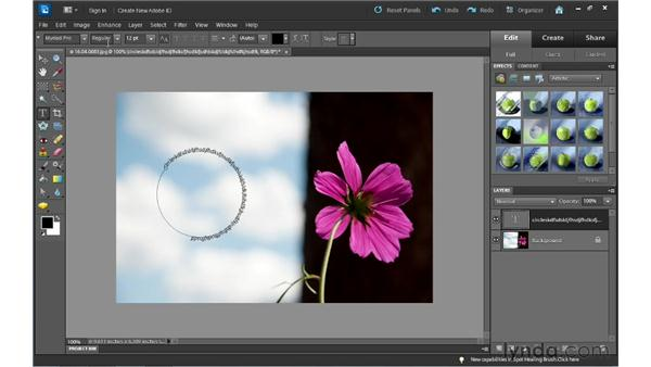 Creating text around a shape: Photoshop Elements 10 Essential Training