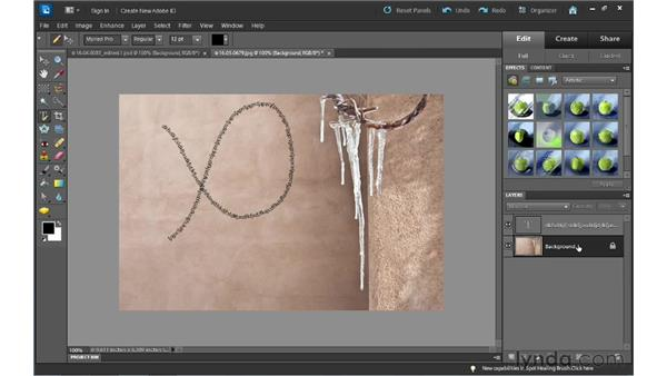 Creating text on a custom path: Photoshop Elements 10 Essential Training