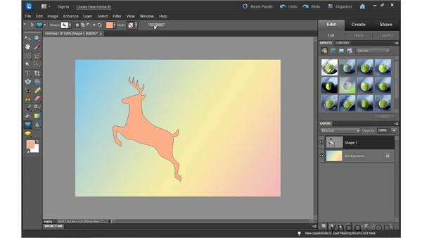 Making shapes: Photoshop Elements 10 Essential Training