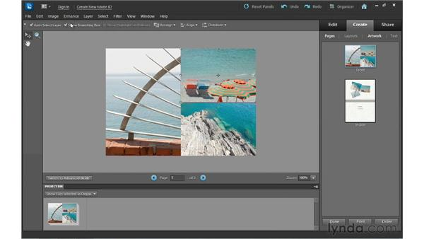 Outputting photo creations from the Create workspace: Photoshop Elements 10 Essential Training