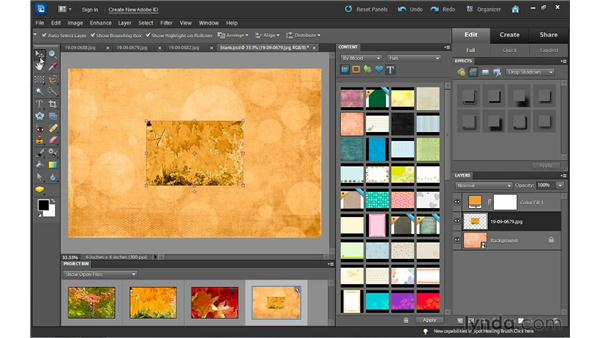 Making a scrapbook page from scratch in Full Edit : Photoshop Elements 10 Essential Training