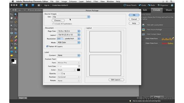 Printing contact sheets and picture packages on a Mac: Photoshop Elements 10 Essential Training