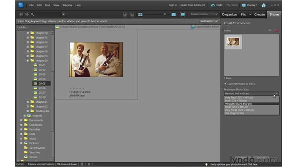 Sharing photos by email from the Organizer: Photoshop Elements 10 Essential Training