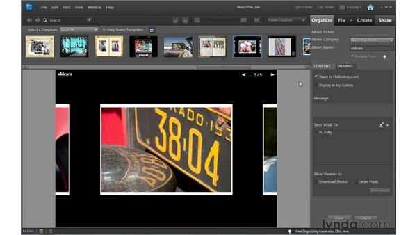 Sharing online albums from the Organizer to Photoshop.com: Photoshop Elements 10 Essential Training