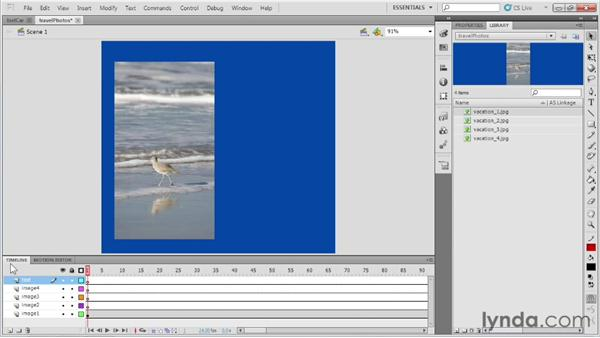 Introducing the Timeline and frames and keyframes: Up and Running with Flash Professional
