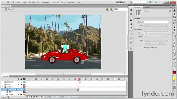 Using frames and keyframes in a project: Up and Running with Flash Professional