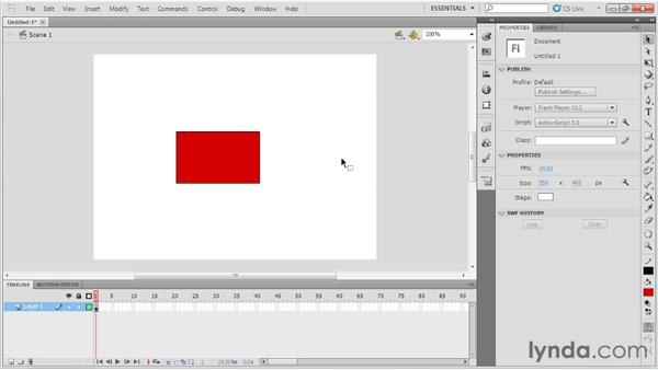 Creating shapes in Merge Drawing mode: Up and Running with Flash Professional