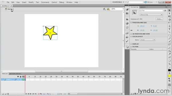 Working with movie clips and graphic symbols: Up and Running with Flash Professional