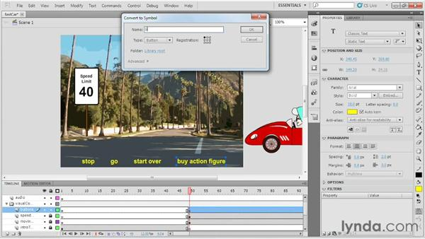 Adding buttons to a project: Up and Running with Flash Professional