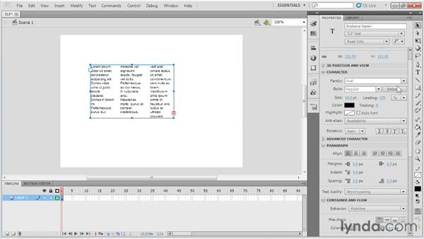 Understanding Text Layout Framework (TLF) text: Up and Running with Flash Professional